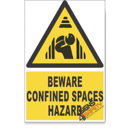 Confined Space, Beware Hazard Descriptive Safety Sign