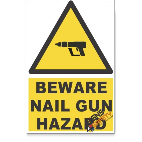 Nail Gun, Beware Hazard Descriptive Safety Sign