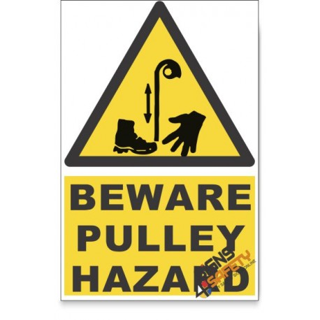 Pulley Hazard, Beware Hazard Descriptive Safety Sign