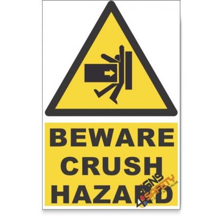 Crush, Beware Hazard Descriptive Safety Sign