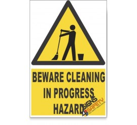 Cleaning In Progress, Beware Hazard Descriptive Safety Sign