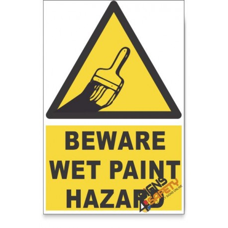 Wet Paint, Beware Hazard Descriptive Safety Sign