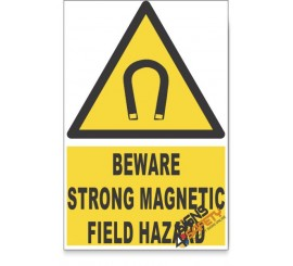 Strong Magnetic Field, Beware Hazard Descriptive Safety Sign