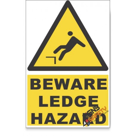 Mind The Ledge, Beware Hazard Descriptive Safety Sign