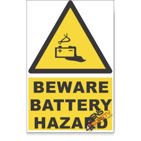 Battery, Beware Hazard Descriptive Safety Sign