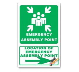 (IN6/D2) Emergency Assembly Point Sign, Arrow Left, Descriptive Safety Sign