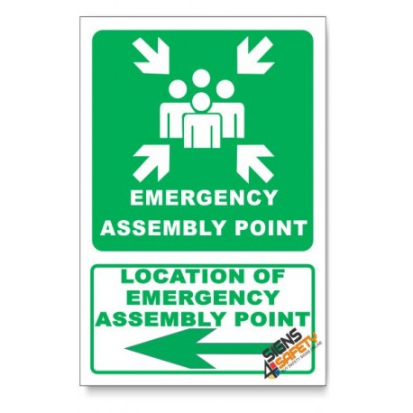 (IN6/D3) Emergency Assembly Point Sign, Arrow Left, Descriptive Safety Sign
