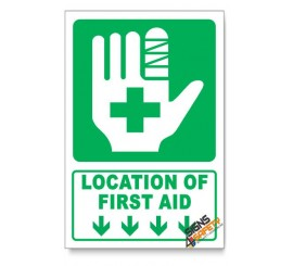 (IN7/D1) First Aid Sign, Arrow Down, Descriptive Safety Sign