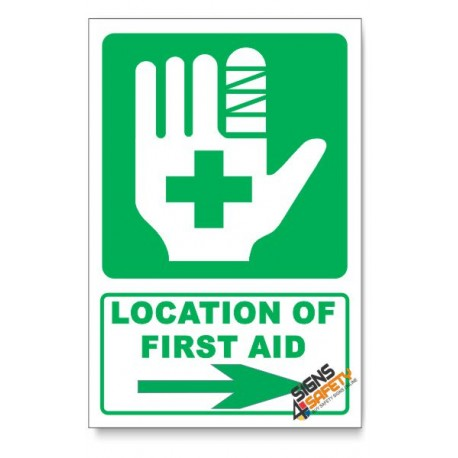(IN7/D2) First Aid Sign, Arrow Right, Descriptive Safety Sign