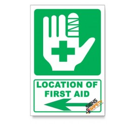 (IN7/D3) First Aid Sign, Arrow Left, Descriptive Safety Sign