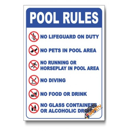 Pool Rules Safety Sign Signs4safety
