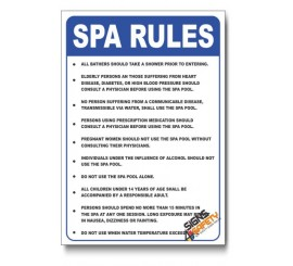 Spa Rules Safety Sign