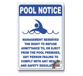 Pool Management Notice Sign