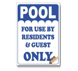 Pool For Residents Only Sign