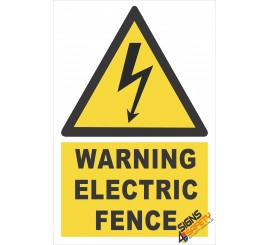 (EW18) Warning Electric Fence Sign
