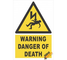 (EW29) Warning Danger Of Death Electrical Sign