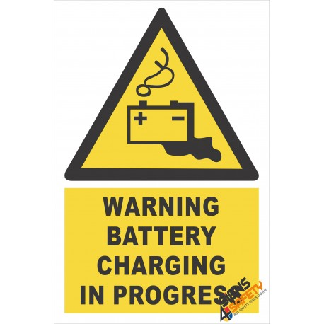 (EW32) Warning Battery Charging In Progress Sign