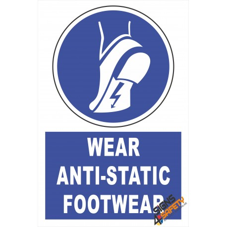 (EM7) Mandatory Wear Anti-Static Footwear Electrical Sign