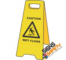 (A-F1) Caution Wet Floor - Floor Stand