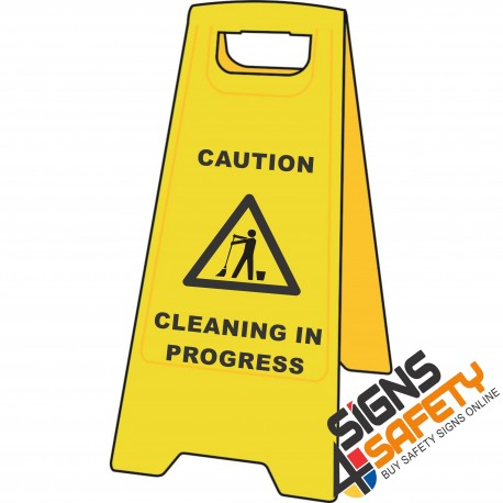(A-F2) Caution Cleaning In Progress - Floor Stand