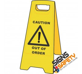 (A-F3) Caution Out Of Order - Floor Stand