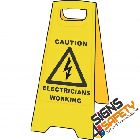 (A-F6) Caution Electricians Working - Floor Stand