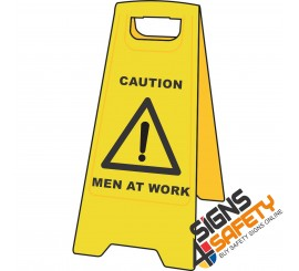 (A-F10) Caution Men At Work - Floor Stand