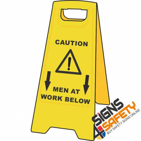 (A-F12) Caution Men At Work Below - Floor Stand