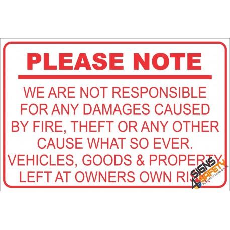 (NR6) Geen Verantwoordelikheid Teken / No Responsibility Disclaimer Sign