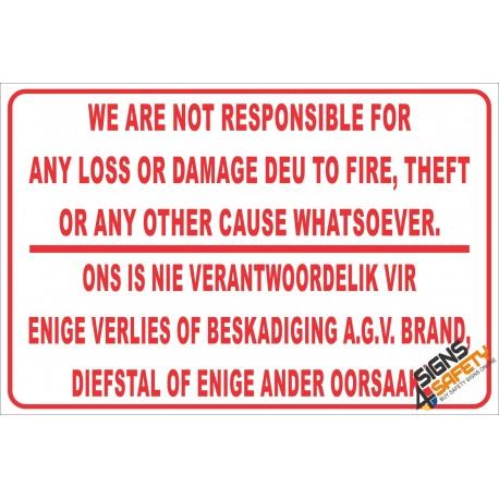 (NR7) Geen Verantwoordelikheid Teken / No Responsibility Disclaimer Sign