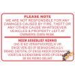 (NR8) Geen Verantwoordelikheid Teken / No Responsibility Disclaimer Sign