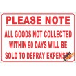 (NR11) Goods Not Collected In 90 Days Disclaimer Sign