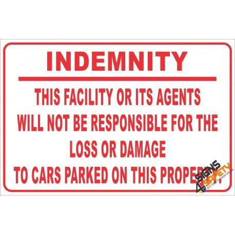(NR21) Parking Indemnity Sign