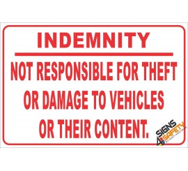 (NR22) Vehicle Indemnity Sign