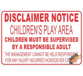 (NR24) Children's Play Area Disclaimer Sign