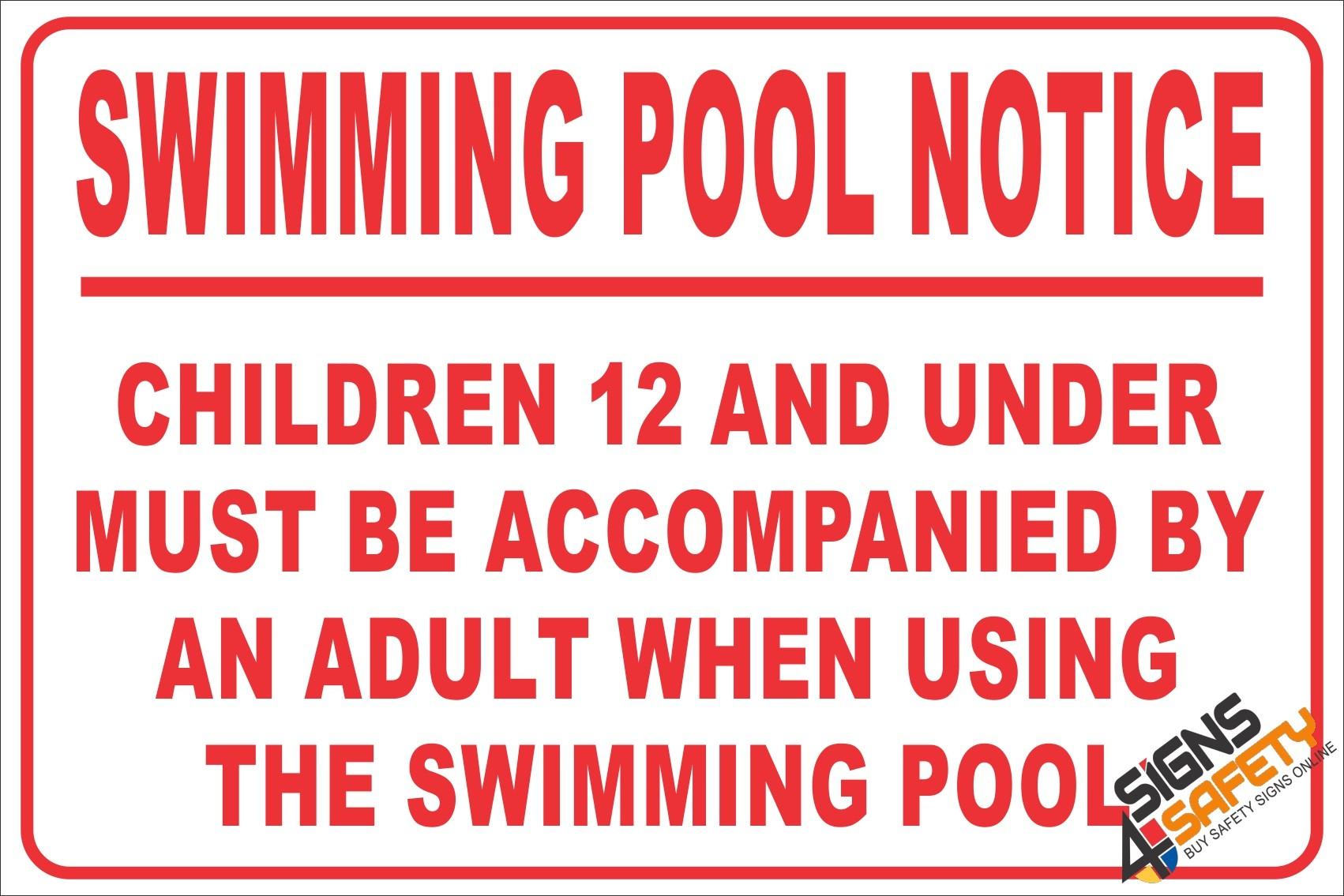 Nosa / SABS (NR26) Swimming Pool Notice Sign