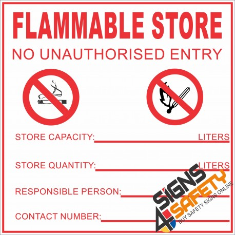 (G17) Flammable Store Sign