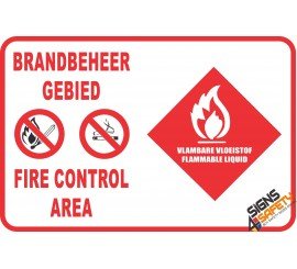 (G26A) Fire Control Area Flammable Liquids Safety Sign