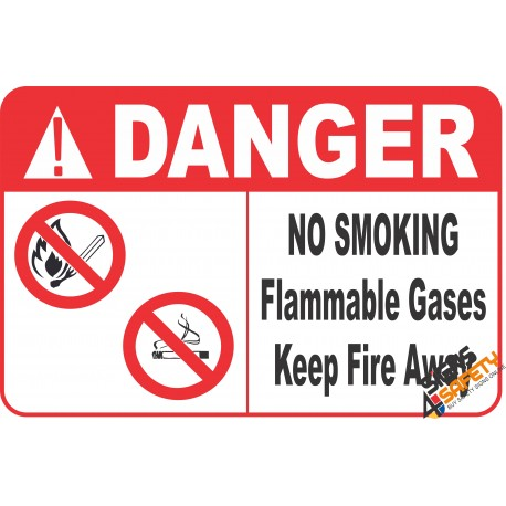 (G27) Danger Flammable Gas / No Smoking / No Open Flame Safety Sign