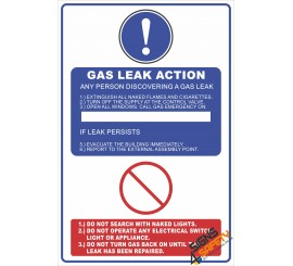 (G38) Gas Leak Action Safety Sign