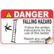 (LS3) Danger Falling Hazard Ladder Safety Sign