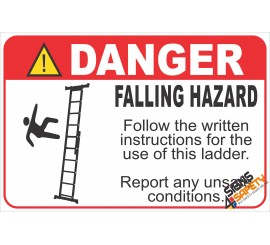 (LS3) Danger Falling Hazard Ladder Safety Sign