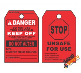 (ST3) Danger Scaffold Unsafe To Use Safety Tag