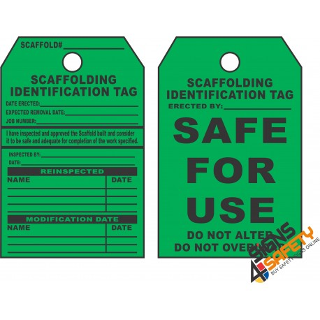 (ST5) Scaffold Safe For Use Safety Tag