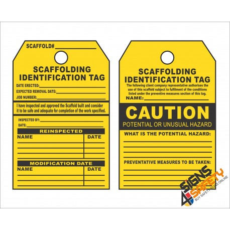 (ST6) Caution Scaffold Hazard Safety Tag