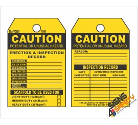 (ST9) Caution Scaffolding Erection & Inspection Record Safety Tag