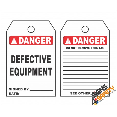 (ST13) Danger Defective Equipment Scaffolding Safety Tag