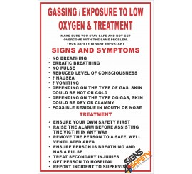 (FA3) Gassing / Exposure To Low Oxygen & Treatment First Aid Sign