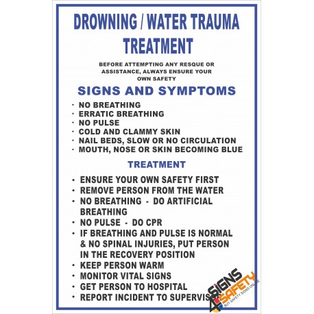 (FA4) Drowning / Water Trauma & Treatment First Aid Sign