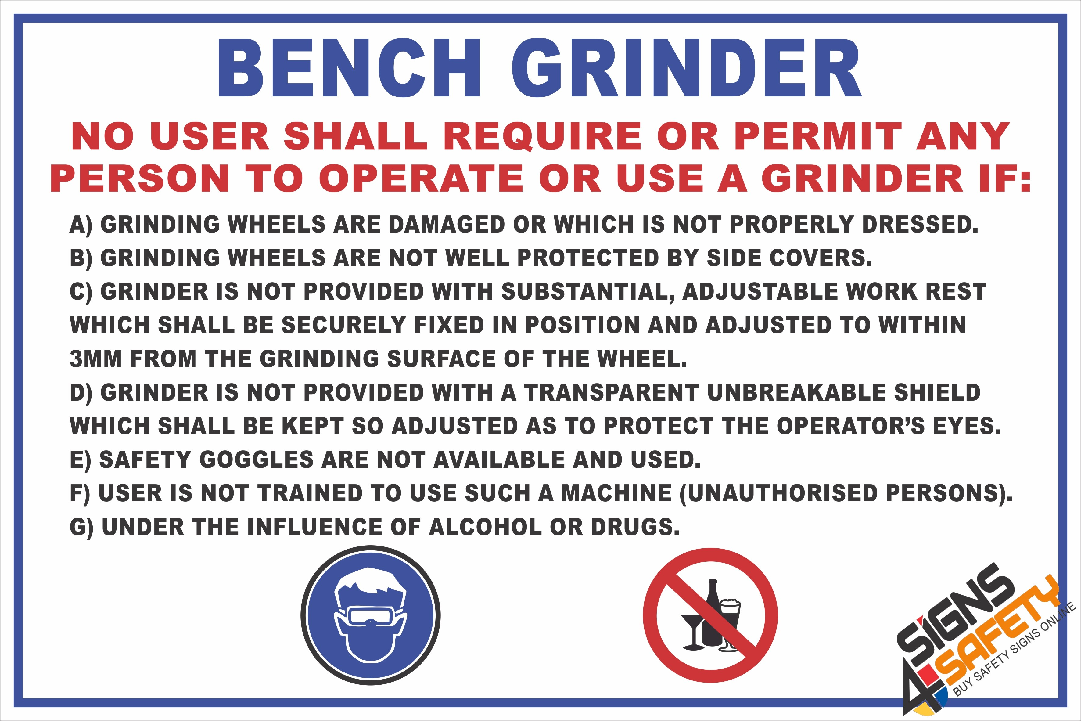 Peachy Nosa Sabs Fm1 Bench Grinder Safety Rules Sign Bralicious Painted Fabric Chair Ideas Braliciousco